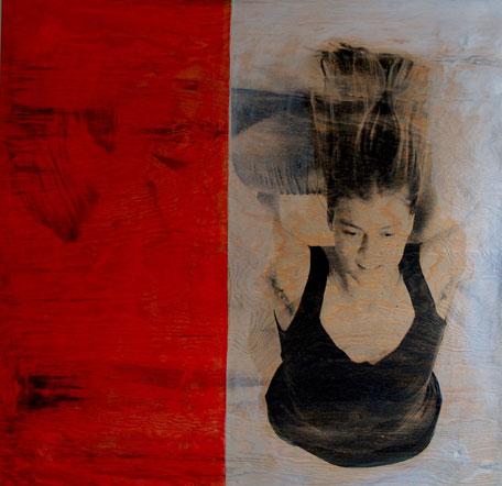 Uden titel, 2007. Fotoemulsion og acryl på træ, 110 x 110 cm.