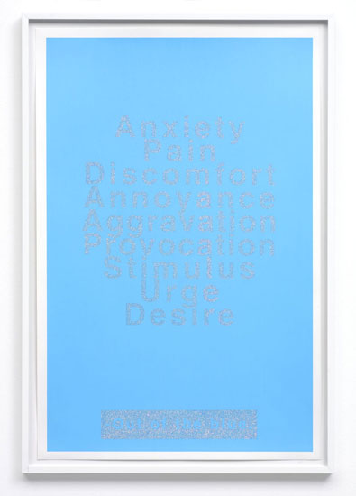 Out of the Blue, 2001, Silkscreen and glitter on paper, 68.5 x 46.5 cm framed, Courtesy Peres Projects, Los Angeles Berlin
