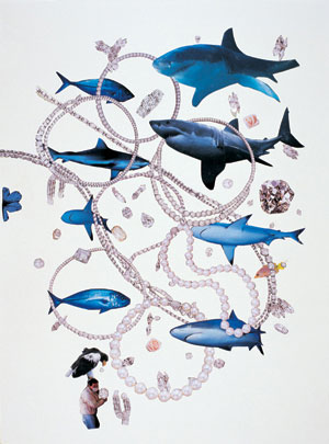 Shark Economy, 2002, print, glitter and pearls on paper, 136 x 97 cm, Courtesy Peres Projects, Los Angeles Berlin