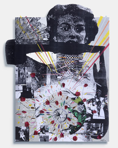 The Infinite and the Unknown, 2006, Mixed-media collage – silver foil, paper, mounted on aluminum, 148 x 110 cm, Courtesy Peres Projects, Los Angeles Berlin