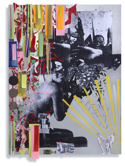 Burning Hearts and the Hands of Wrath, 2006, Mixed-media collage – silverfoil, various papers mounted on aluminum, 137 x 100 cm, Courtesy Peres Projects, Los Angeles Berlin